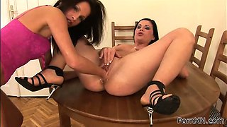 Two lesbians enjoy pissing and fisting fun