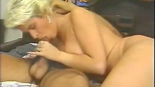 Retro clip with a chubby blonde mom sucking and riding a cock