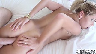 Booby blonde girlfriend anal try out and caught on cam