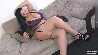 Anastasia Lux playing with her massive big tits and rubbing her juicy pink pussy