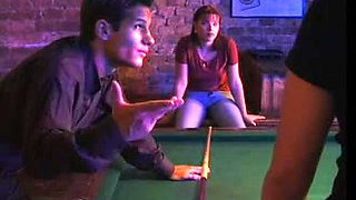 hungarian playgirl double permeated on a pool table