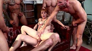 Five guys gangbang redheaded pornstar Penny Pax