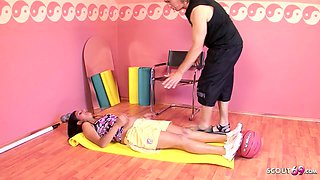 9 Month Pregnant Latina Seduce to Fuck by Fitness Trainer