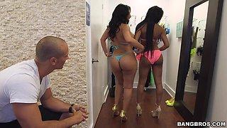 POV video of big butt Latina Selena Adams sucking a stiff cock