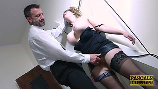 Submissive English slut dommed and fed with masters cum
