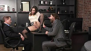 Huge Tits Lady Closes a Deal With Office