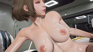 Robot droid fucked a young beauty in the ass ( Animation 3D)