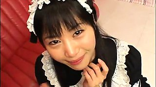 Insatiable Japanese maid gets pounded hard and facialized