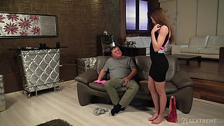Old vs young with horny fat dude and attractive girl Akira May