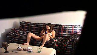 Lustful amateur teen finds herself alone and masturbates