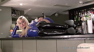 Amazing blonde amateur latex chick is ready to expose her nice booty
