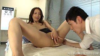 Alluring Japanese teacher Sayuri Honjyou begs for hard fucking