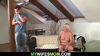 Very old blonde mother inlaw begging for doggyfuck