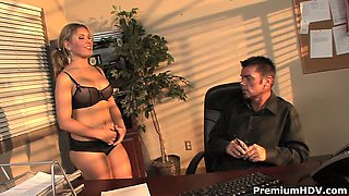 Busty secretary in sexy outfit working out her boss cock on