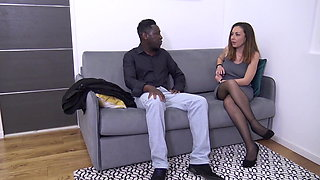 Sexy Stocking Babe Gets Some Black Cock