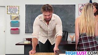 Teacher fucks Karter Foxx and Scarlett Sage