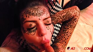 Inked up beauty Amber Luke craves a big cock