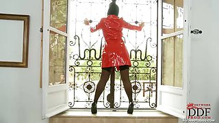 Beauty in red latex coat!