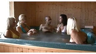 A Bunch Of Hotties Wanking Off Lucky Guy With Big Cock In A Jacuzzi