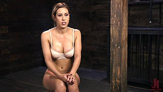 Busty Latina Demi Lopez stripped and tied up before abuse