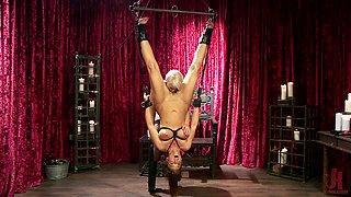 Mistress Helena Locke hangs Syren De Mer upside down and abuses her
