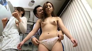 Beautiful Oriental housewives get fucked hard in the kitchen