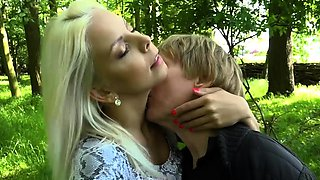 Petite teen fucked by horny old grandpa in the forest