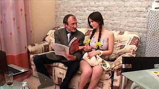 Hottie is letting her older teacher taste her pussy