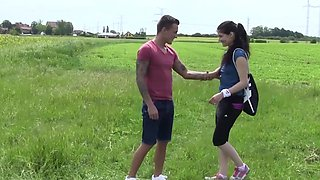 Outdoors fucking with small tits brunette girlfriend Lexy B