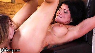 Two killing hot babes Romi Rain and Kristen Scott make each other cum
