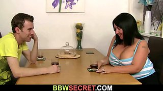Cheater fucks brunette faty from behind