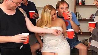 Chubby Blonde Nymph Swallows Sperm in Gangbang Bukkake Party