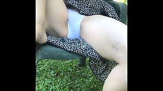 Teasing the neighbor upskirt white cotton panties