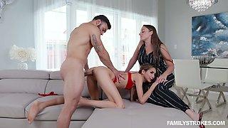 Wife enjoys watching her husband fucking slim hooker Natalia Nix