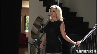 Blonde is demonstrating her cute lingerie