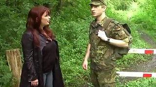 Young soldier can&#039t fuck his first busty divorced milf