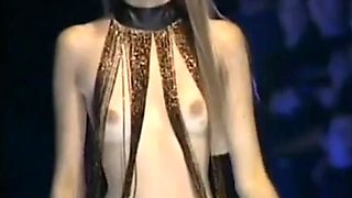 Naked boobs on Fashion Show
