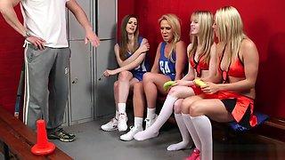 CFNM fetish cheerleaders sucking hard cock