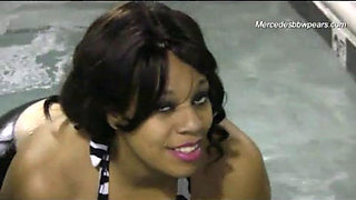 Sexy Ebony BBW babe at the pool