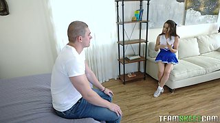 Petite cheerleader Cassidy Klein is fucked by tall stepbrother with big cock