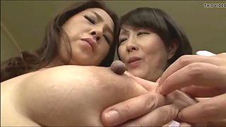 Asian young and old lesbian nipple play