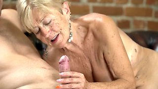 Randy grandmother still has a big sexual appetite and loves young cock