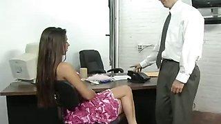 Brunette Secretary Getting Boned on Desk