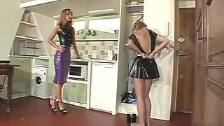 In sexy latex maid