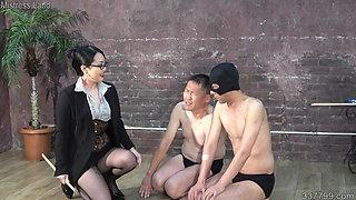 Japanese dominatrix Hitomi Aoto trains two masochist men