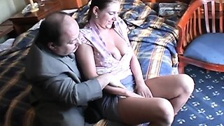 Big jugged girl giving old man handjob and blowjob