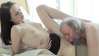 Nice schoolgirl gets teased and banged by her older teacher