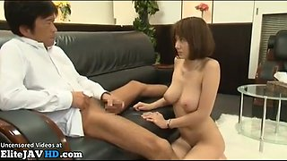 Japanese busty office lady approved by pervert boss