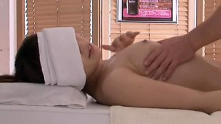 Hairy japanese cunt drilled hard in kinky massage spy video