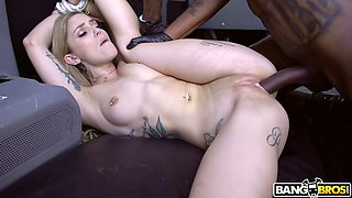 Pale slim chick Kali Roses goes interracial and gets fucked in the car